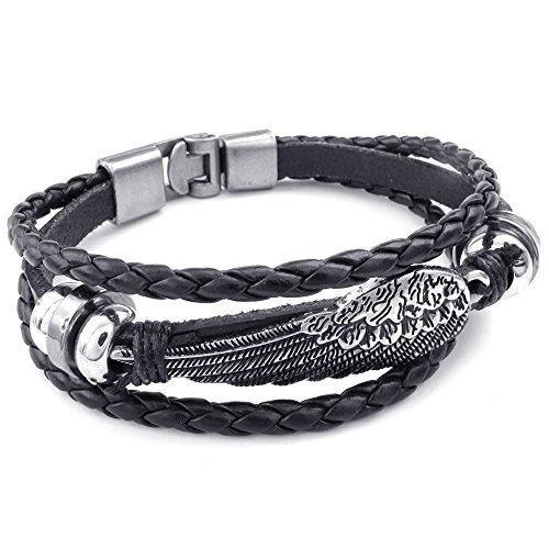 Leather Angel Wings - KONOV Mens Womens Genuine Leather Bracelet, Angel Wing Braided Cuff Bangle, Black Silver