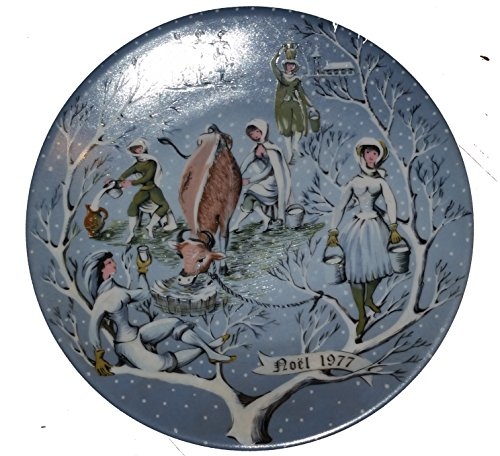 Haviland Limoges Twelve Days of Christmas - Eight Maids a Milking Collector Plate by Artist Rémy Hétreau