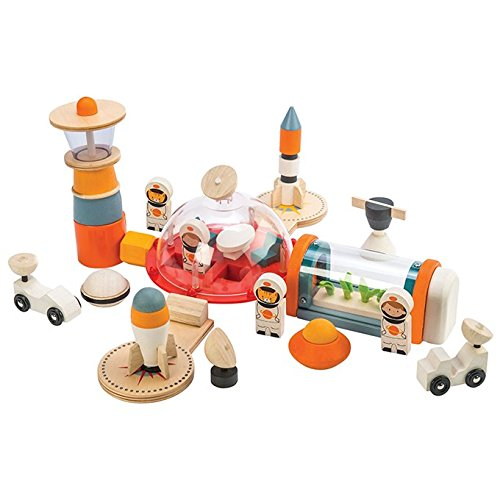 Life on Mars Playset - S.T.E.M. Toy - 16 Pc Wooden Outer Space Themed Playset - Made with Premium Materials and Craftsmanship - Creates Interest in Science and Creative Role Play - For Children 3+