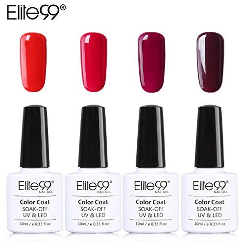 Elite99 Soak Off UV LED Gel Nail Polish Wine Red Series Manicure Collections Nail Art Decoration 10ml(C007-4pcs)