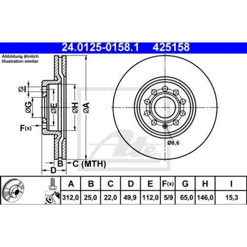 ATE BREMSSCHEIBEN Ø 312 mm BREMSBELÄGE CERAMIC VORNE VW TIGUAN AUDI Q3 1.4 2.