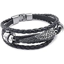 KONOV Mens Womens Genuine Leather Bracelet, Angel Wing Braided Cuff Bangle, Black Silver