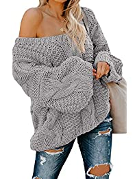 Women's Sexy Long Sleeve Off Shoulder Loose Cable Knit Pullover Sweater