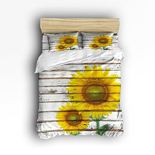 Libaoge 4 Piece Bed Sheets Set, Yellow Sunflower on Rustic Old Barn Wood Print, 1 Flat Sheet 1 Duvet Cover and 2 Pillow Cases by Libaoge