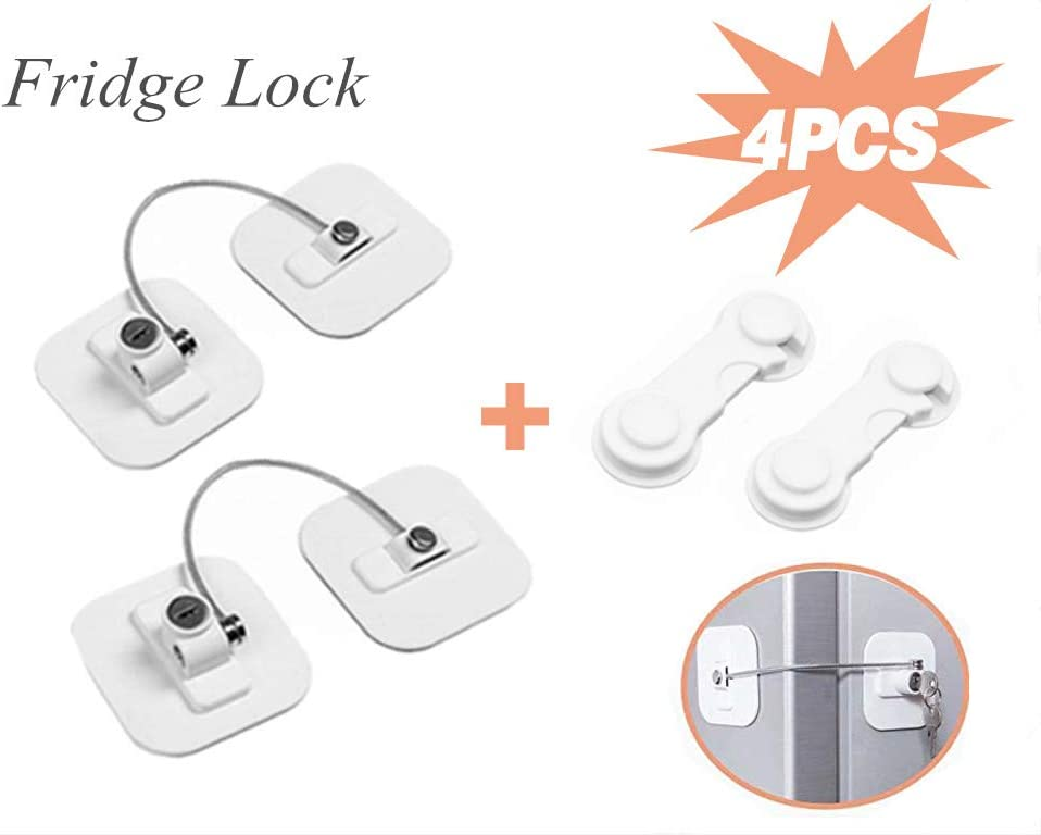 LUCK.XT Refrigerator Lock Fridge Lock with Keys Freezer Lock and Child Safety Cabinet Lock with Strong Adhesive(4 Pack)