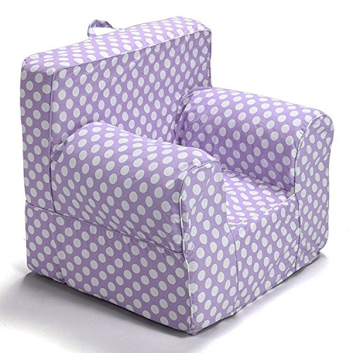 (CUB CHAIRS Comfy Oversize Purple Polkadot Kid's Chair with Machine Washable Removable Cover)