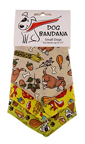 """BANDANAS UNLIMITED Tie on Triangle Thanksgiving Bandanas for Small Dogs , 20"""""""