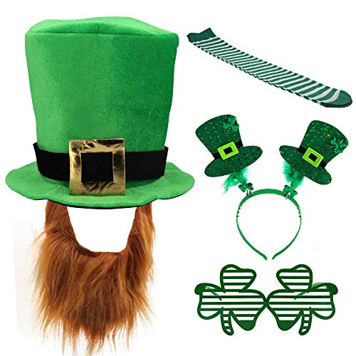 Head Leprechaun - Kkonetoy 5PCS/Set St. Patricks Day Costume Green Leprechaun Top Hat and Beard,Shamrock Glasses, St. Patrick's Socks and Hair Hoop Headband for Irish Party Supplies