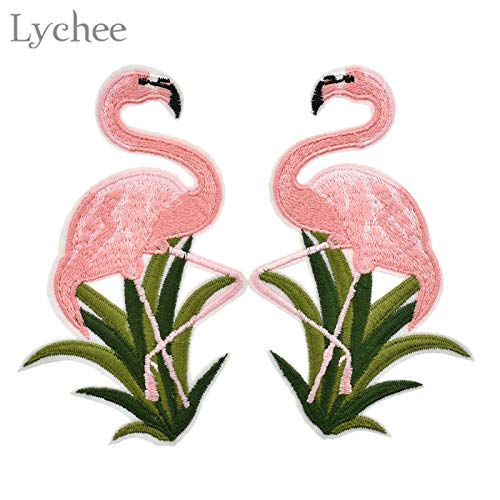 Cacys-Store - 1 Pair Flamingo Patches For Clothes Iron On Embroidered Patches Cartoon Motif Sticker DIY Garment Appliques Sewing Craft