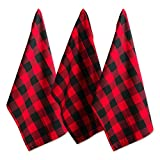 DII Cotton Buffalo Check Plaid Dish Towels, (20x30'', Set of 3) Monogrammable Oversized Kitchen Towels for Drying, Cleaning, Cooking, & Baking - Red & Black