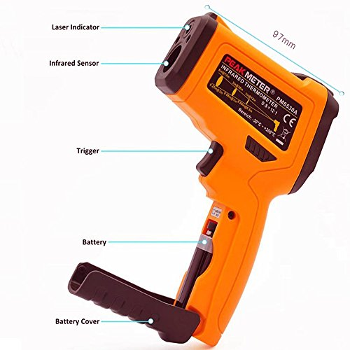 Infrared Thermometer, Non Contact Laser Thermometer Gun for Oven Kitchen Cooking BBQ Automotive Industrial, -58℉ ~ 1022℉ with LCD Display by Dinlly (Image #3)