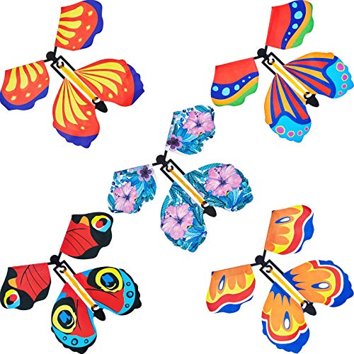 15 Pieces Magic Fairy Flying Butterfly Rubber Band Powered Wind up Butterfly Toy for Surprise Gift or Party Playing…