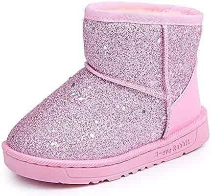 09e6600ee Elcssuy Girl's Warm Winter Sequin Waterpoof Outdoor Princess Snow Boots  House Slippers Flat Shoes(Toddler