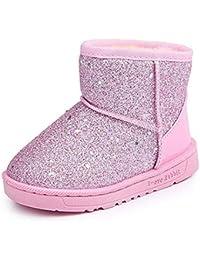 Girl's Winter Warm Sequin Comfy Cute Waterpoof Outdoor Snow Boots Bootie Slippers(Toddler/Little Kid)