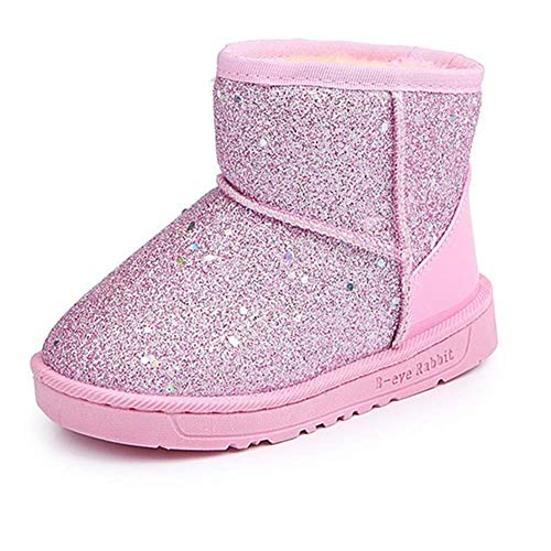 Elcssuy Girl's Warm Winter Sequin Waterpoof Outdoor Princess Snow Boots House Slippers Flat Shoes(Toddler/Little Kid) P29 -