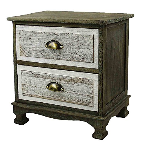 Jerry & Maggie - Nightstand - 2 Tier Curving Pattern Sides Night Stand Storage Bedside Table with 2 Drawer Real Natural Paulownia Wood (2 Tier | Painted Wood Tone) - 2 Drawer Painted Side Table