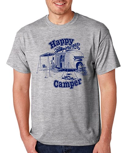 SignatureTshirts Men's Happy Camper T-Shirt XL Heather Grey ()