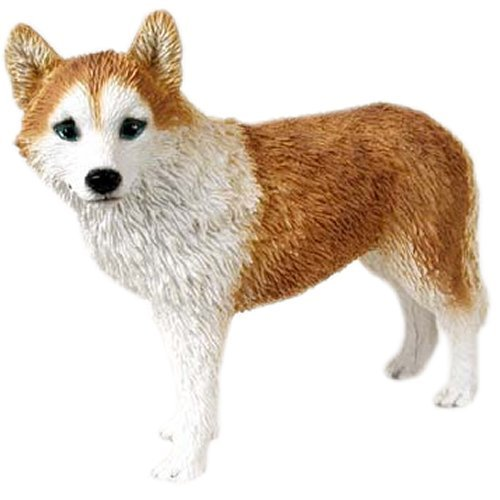 Red & White with Blue Eyes Siberian Husky Figurine (Siberian Husky White Figurine)