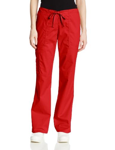 (Cherokee Women's Workwear Core Stretch Drawstring Cargo Scrubs Pant, Red, X-Large Petite)