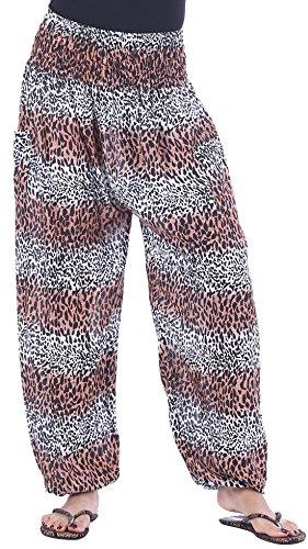 CandyHusky Womens Print Baggy Genie Aladdin Hippie Boho Yoga Harem Pants Costume (One Size Regular, Leopard Print 2)
