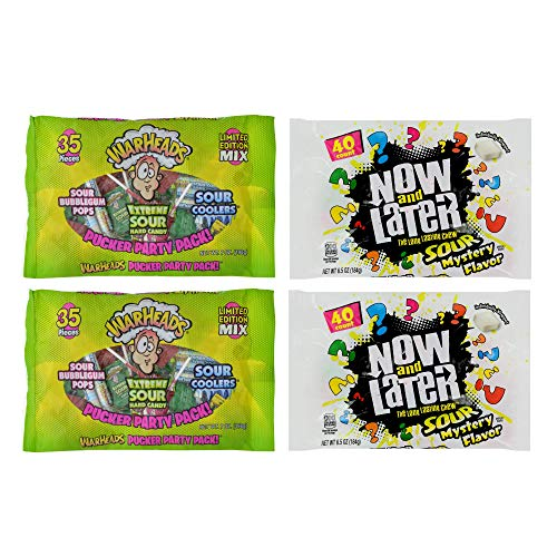 Warheads and Now & Later Sour Candy Bundle - Includes 2x Warheads Pucker Party Pack (35ct each) + 2x Now & Later Sour Mystery Chews (40ct each) | Perfect for Candy Bowls, Parties, and Movie Nights! ()