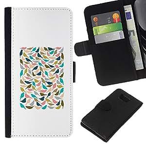 A-type (White Teal Minimalist Poster) Colorida Impresión Funda Cuero Monedero Caja Bolsa Cubierta Caja Piel Card Slots Para Samsung ALPHA G850