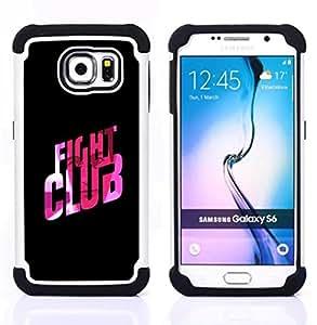 "Hypernova Híbrido Heavy Duty armadura cubierta silicona prueba golpes Funda caso resistente Para Samsung Galaxy S6 / SM-G920 [Fight Club Cita Slogan Pink Bling""]"