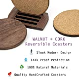 Walnut Wood & Cork Drink Coasters with Holder