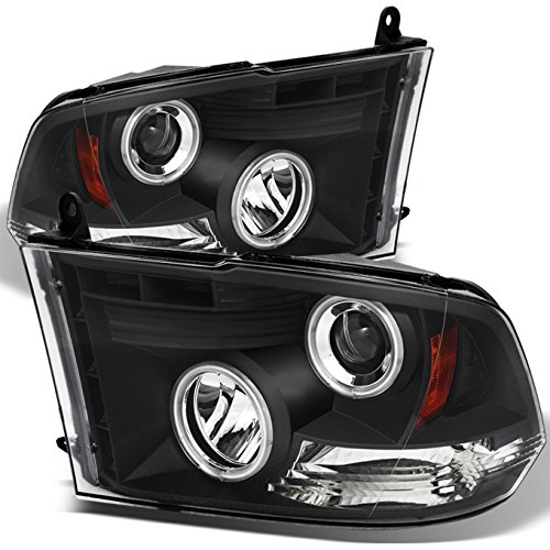 - For 09-18 Dodge Ram Pickup Truck Black Bezel Dual CCFL Halo Ring LED Projector Headlights Replacement Pair