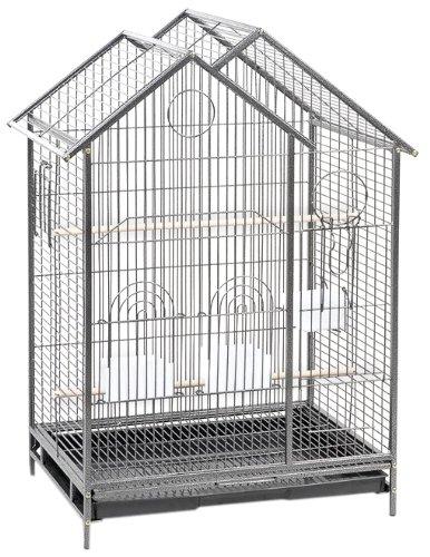 Cage Connection Contemporary House Bird Cage with Platform Door, Gun Metal Grey