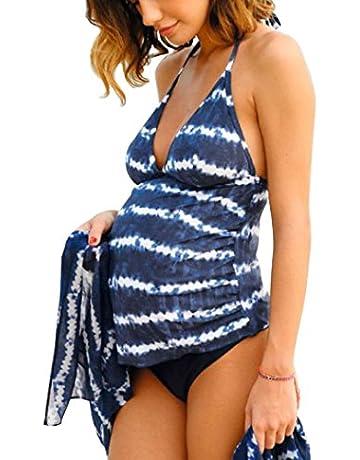 d8f59f4a6ba Halter Neck Maternity Tankini Tie-dye Striped Swimsuit Set