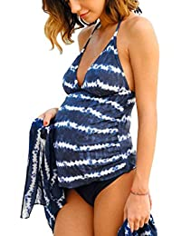 Halter Neck Maternity Tankini Tie-dye Striped Swimsuit Set