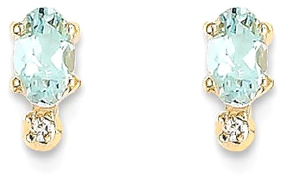 ICE CARATS 14k Yellow Gold Diamond Blue Aquamarine Birthstone Post Stud Ball Button Earrings March Fine Jewelry Gift Set For Women Heart
