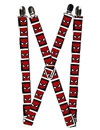 Buckle Down Men's Elastic Marvel Spider-Man Clip End Suspenders, Spiderman