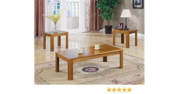 Amazon.com: Inland Empire Furniture Mindel Oak Parquet Top 3 Piece Coffee  And End Table Set: Kitchen U0026 Dining