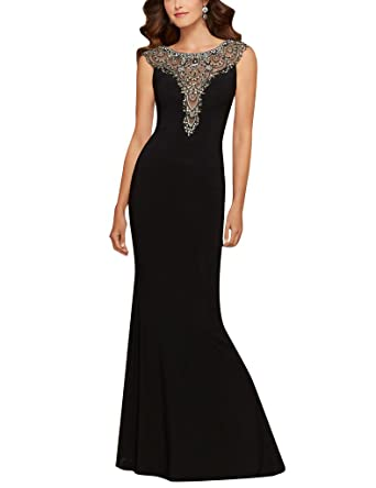 Amazoncom Cdress Beads Mermaid Sheer Backless Cowl Neck Prom