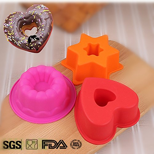 Bundt Cake Decorating (3Pcs Silicone Small Bundt Cake Pan | 4~5 Inch Mini Fluted Cake Mold Collection, including Heart/Star/Round-Flower, Non Stick Silicone Decorating Baking Mold Liners)