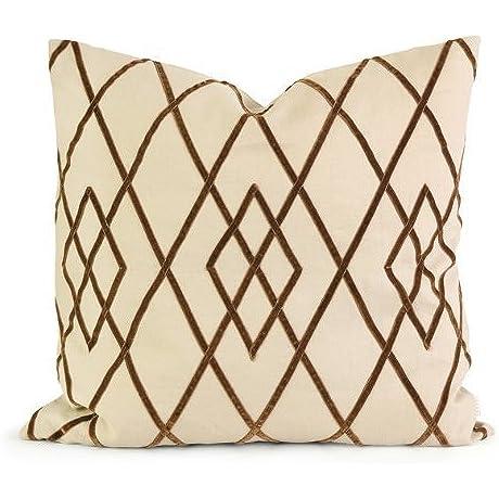 IK Ayaka Brown Velvet On Linen Pillow W Down Fill By XoticBrands