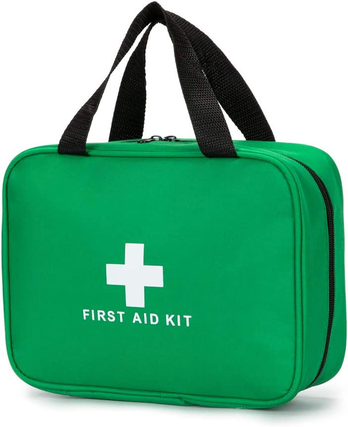 Jipemtra Red First Aid Bag Empty Travel Rescue Pouch First Responder Storage Compact Survival Medicine Bag for Car Home Office Kitchen Sport Outdoors (Green)