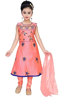 Girls Indian Bollywood Ethnic Designer Party Dress Age 3-9 years Red and Gold