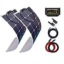 Giosolar Solar Panel 200W (2 x 100W) Flexible solar panel kit battery charger monocrystalline LED controller complete
