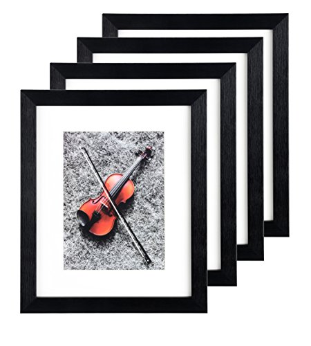 Black Portable Home Picture Frame 8 x 10 inch Pack of 4 - Display 5x7 Family Pictures with Mat or 8x10 without Mat Plexiglass Cover 4-Pack Photo Frame Set for Wall Hanging & Tabletop Standing - Anniversary Year Photo Holder