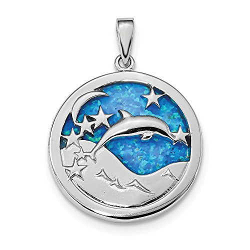 925 Sterling Silver Blue Inlay Created Opal Dolphins Pendant Charm Necklace Sea Life Dolphin Fine Jewelry Gifts For Women For Her ()