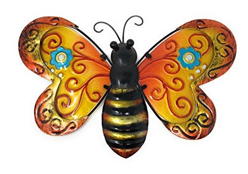 Metal Wall Art Decor Nature Inspired Flower Garden Bug Sculptures for Indoor Outdoor (Bee)