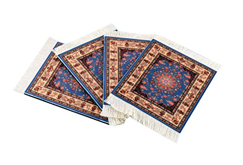 Coffee Mug Mouse Pad (Set of 4 Rug Table Coasters – Oriental Design Fabric Carpet Drink Mats (Blue Patter))