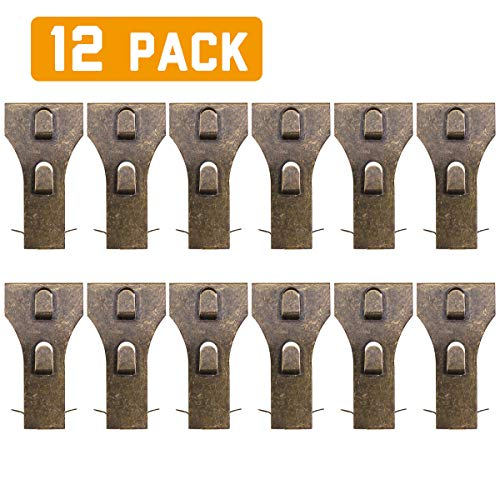 Brick Clips for Hanging, Spring Steel Hanger Exposed Brick Wall Hook Fastener Fits Brick 2-1/4 to 2-3/8 in Height 12 Pack (Fireplace Outdoor Hanging)
