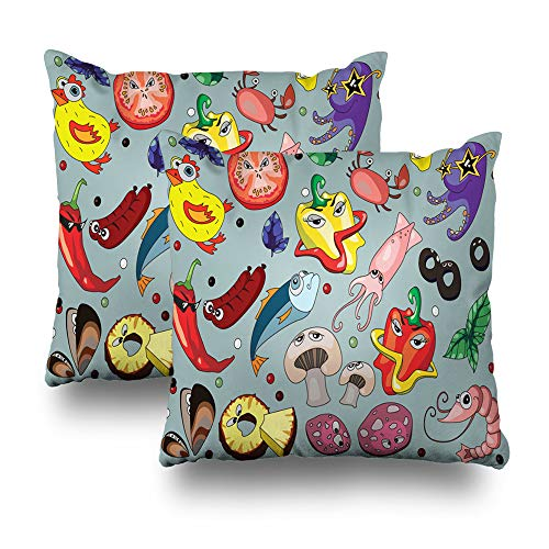 Darkchocl Set of 2 Daily Decoration Throw Pillow Covers Funny Children Pizza Cheerful Cheese Square Pillowcase Cushion for Couch Sofa or Bed Modern Quality Design Cotton and Polyester 18 x 18 Inch