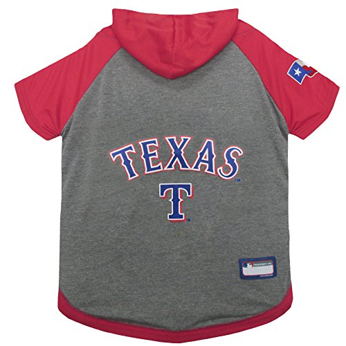 MLB Hoodie for Dogs & Cats - Texas Rangers Dog Hooded T-Shirt, Medium. - MLB Team Color Hoody (Texas Rangers Mlb Hoody)