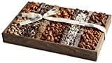 The Nuttery Fresh Chocolate and Roasted Nuts Gift Tray-Reusable Medium Wooden Box-Kosher Gourmet Holiday Food Gift Set-Healthy Chocolate Snacks-Thanksgiving Fancy Mixed Chocolate and Nuts Gift Basket