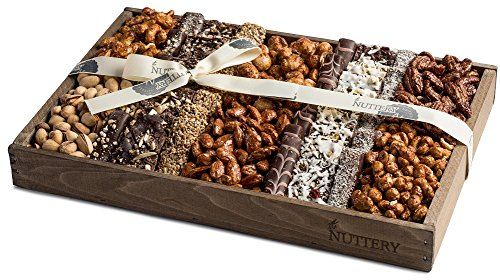 The Nuttery Fresh Chocolate and Roasted Nuts Gift Tray-Reusable Medium Wooden Box-Kosher Gourmet Holiday Food Gift Set-Healthy Chocolate Snacks-Thanksgiving Fancy Mixed Chocolate and Nuts Gift Basket by The Nuttery NY